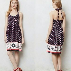 Anthropologie Sailboat Nautical Halter Dress NWT